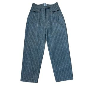 Sea New York Wool Grey Pinstripe Paperbag High Waisted Trousers